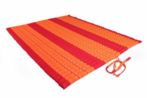 Riesige rollbare Thaimatte Matratze 150x200 cm Thaikissen Matte in rot-orange mit Füllung aus Kapok