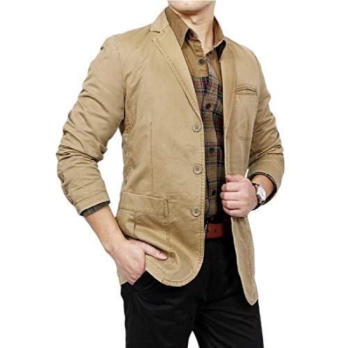 YUNY Men's Cotton Business Casual Leisure Suit Jacket Blazer Khaki S by YUNY