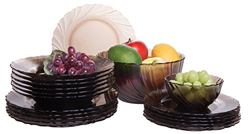 Chocolate Brown 20-Piece Glass Dinnerware Plate Set, Service for 6