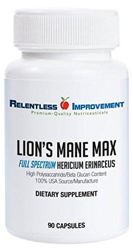 Relentless Improvement Lion's Mane Hericium | NO FILLERS | Full-Spectrum Mycoproduct | 750mg 90 vegecapsules