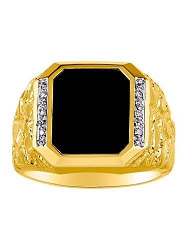 (RYLOS Amazing Design Diamonds and Black Onyx Set in Sterling Silver or Yellow Gold Plated Silver .925)