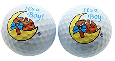 Its a Boy Novelty Golf Ball SET of 2 Golfing Gift for Golfer New Baby Son Daddy