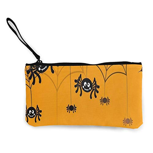 Halloween Seamless Pattern Spider Web Women's Travel Makeup Bags Canvas Coin Purse Special Small Clutch Pouch Toiletries Organizer Bag ()