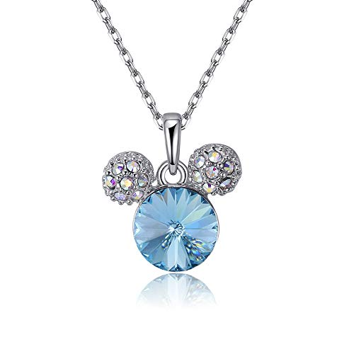 (Mouttop Swarovski Element Mickey Mouse Necklace Jewelry for Women (Mickey -Blue))