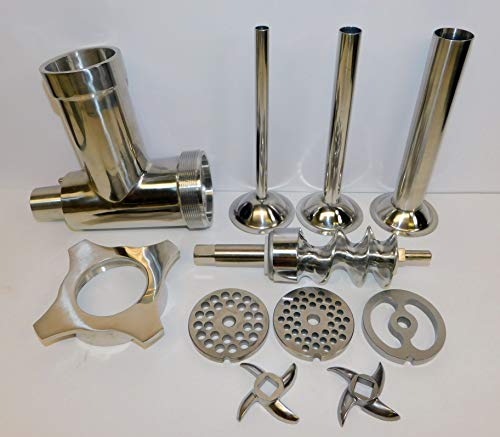 Stainless Steel Meat Grinder Attachment for Hobart & Univex mixer. a200 d300 h600 h660 hl600 PLUS Sausage Stuffing Kit. Fits Hobart, Univex mixers