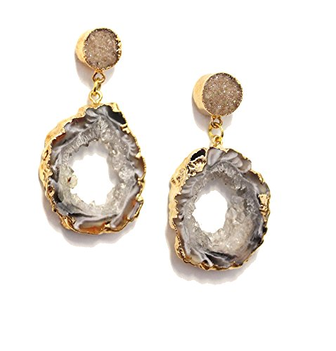 SONIA HOU Lit Dangle Drop Earrings Geode Agate Slice On Druzy Ear Studs Electroplated in 24K Gold- Birthday Wedding Anniversary Engagement Bridal Party Gifts (Grey) (Aria Halloween Costume 2017)