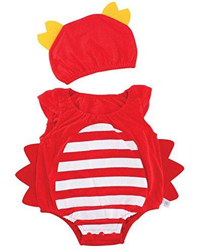 Kidsform Baby Unisex Bodysuit Animal Costume for Boys Girls Cartoon Short Sleeve Onesie with Hat Crab (Crab Costume Baby)