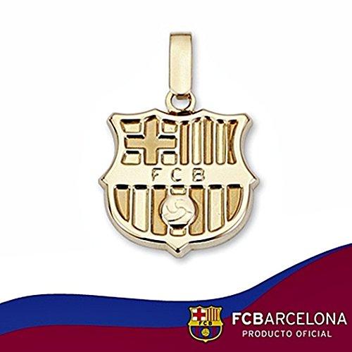 Bouclier pendentif F.C. Barcelona loi 16mm en or 18 carats. lisse [6504] - Modèle: 10-013-L