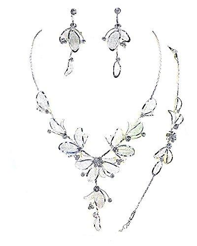 Christina Collection 3Pcs Crystal Rhinestone Metal Mesh Petal Necklace, Earrings & Bracelet set (White)