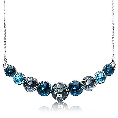 - UPSERA Necklace for Women ❤️Mystical Peacock❤️ Colored Crystals from Swarovski Silver Tone Plated Fashion Jewelry, 18.7+2