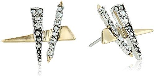 (Alexis Bittar Criss-cross Shard Post Earrings, 10K Gold with Antique Rhodium Accents, One Size )