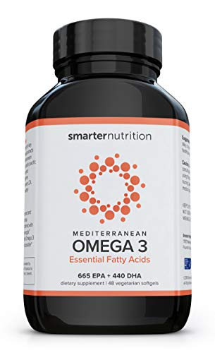 Smarter Omega 3 Fish Oil – Mediterranean Omega 3 Essential Fatty Acids Supplement | Helps Lower LDL Levels and Promotes a Healthy Cardiovascular System | Preserved in Veggie Softgels (24 Servings)
