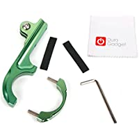 DURAGADGET Ultra-Strong Forged Aluminium Handlebar Mount in Green with GoPro Style Mount - Compatible with the Kaiser Baas X80 | X150 Action Cameras - Plus BONUS Microfibre Cleaning Cloth!