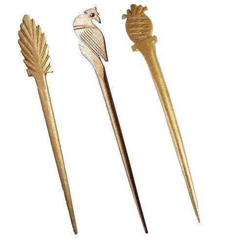 Buy Salvus App Solutions Marble Made Long Hair Stick Golden Color Set For  Women /Girls at Amazon.in