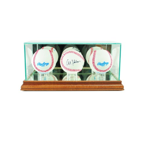 Perfect Cases MLB Triple Baseball Glass Display Case, Walnut