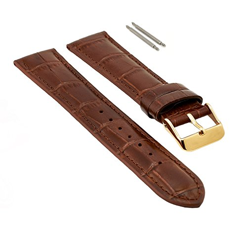 20mm Brown Leather Watch Band for Men, Gold Buckle, Leather Watch Bands for Men, Genuine Leather Watch Strap, Extra Long XL, Crocodile Print Leather, 2 Free Pins, Easily Changeable ()