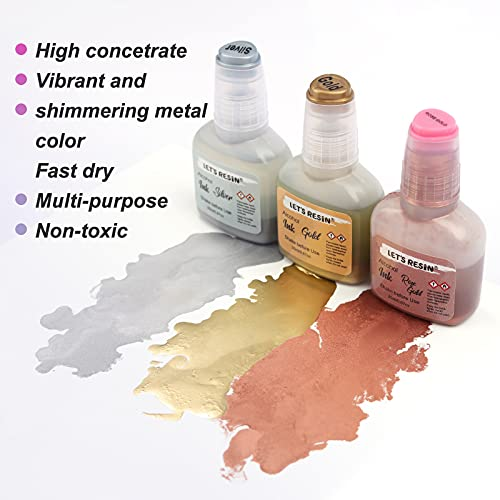 LET'S RESIN Metallic Alcohol Ink Set- 0.67oz x 6, Gold, Silvery and Rose Gold Alcohol Ink, Shimmering Alcohol Ink Supplies for Epoxy Resin Art, Alcohol Ink for Tumbler Making, Yupo Paper Painting
