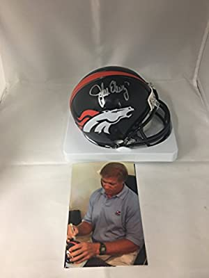 John Elway Signed Autographed Denver Broncos Mini Helmet Elway Personal Player Hologram W/Photo From Signing