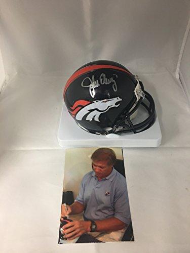 John Elway Signed Autographed Denver Broncos Mini Helmet Elway Personal Player Hologram W/Photo From Signing