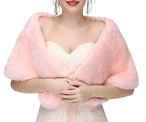 Decahome Women's Faux Fur Shawl Wraps Stole Cloak Coat Sweater Cape for Evening Party/Bridal/Wedding Pink Fox Fur