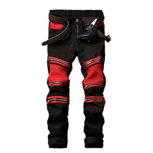 E Stretti Strappati Dimensione 38 Eu 2 Zip Jeans Motociclista Neri Dritti Rosso Rosso colore Da Uomo 3 Casual Fengbingl Con 0xqRwgzY