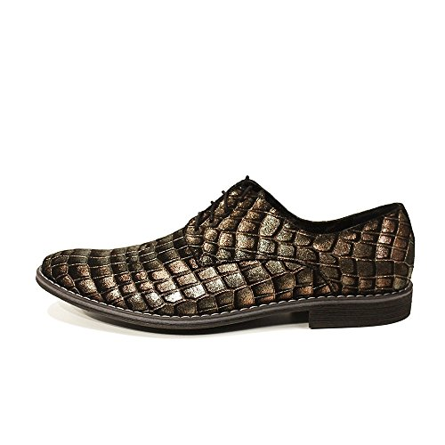 PeppeShoes Modello Tartaruga - Handmade Italiennes Cuir Pour des Hommes Brun Chaussures Oxfords - Peau de Chèvre Cuir Gaufré - Lacer