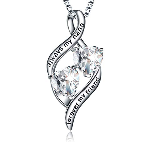MUATOGIML Grandma Gifts 925 Sterling Silver Always My Nana Forever My Friend Love Heart Pendant Necklace for Nana ()