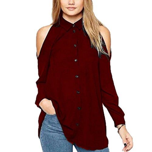 Mujer Gasa Floja Blusa Manga Large Casual Camisetas Fuera del Hombro Colgando El Cuello Camisetas Vino Rojo