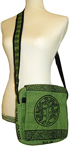 (Tree of Life Block Print Shoulder Bag (Green))