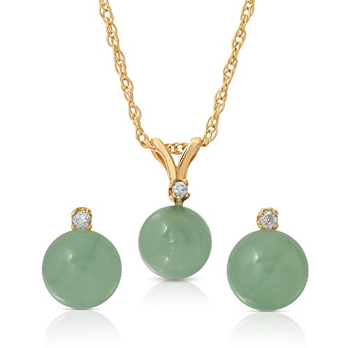 (Regalia by Ulti Ramos 14K Gold Genuine Jade 2pcs Earring and Pendant Set with .03cts of White Diamonds 18