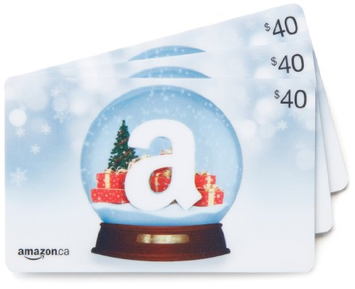 Amazon.ca $40 Gift Cards, Pack of 3 (Holiday Globe/Globe de neige Card Design)