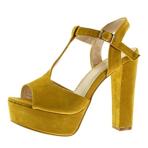 Angkorly - Zapatillas de Moda Sandalias correa Peep-Toe zapatillas de plataforma mujer Hebilla Talón Tacón ancho alto 13 CM - Amarillez