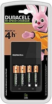 Duracell Cargador de pilas en 4 horas, 1 unidad, Color Negro
