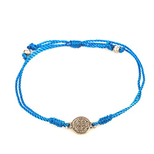 Blue Breathe Bracelet. Blue Cotton Cord Bracelet Is Complimented By a Benedictine Medal, Which Is One of the Most Powerful Symbols of Protection. Each Bracelet Comes Displayed on a Card with Its Story and the Reminder of the Power of Prayer. In Time of Ne
