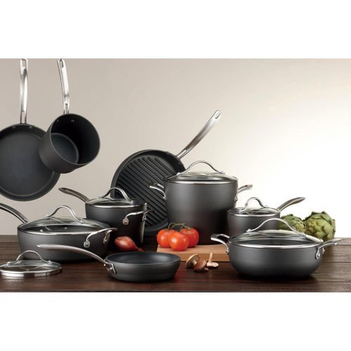 Kirkland SignatureTM 15-piece Hard-Anodized Aluminum Cookware Set with 18/10 Stainless Steel Handles and Tempered Glass Lids
