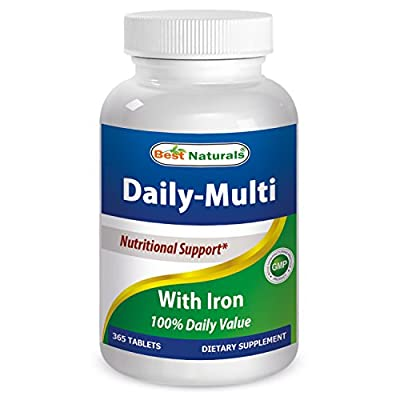 Best Naturals Daily Multivitamins with Iron 365 Tablets - 100% Daily Value