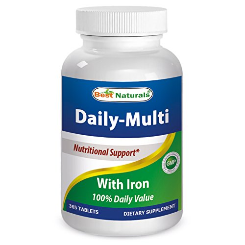 Iron 100 Tablets - Best Naturals Daily Multivitamins with Iron 365 Tablets - 100% Daily Value