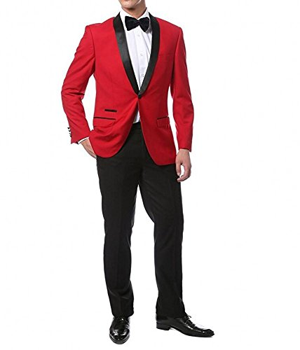 Botong Red Jacket Black Pants Men Suits 2 Pieces Wedding Suits for Men Groom Tuxedos Red 34 chest / 28 (Men In Black Suit)