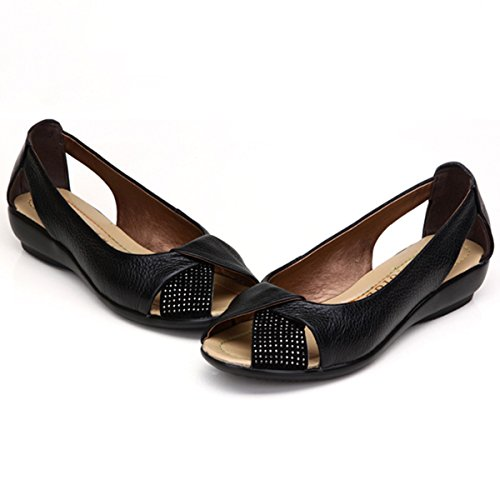 Shoes Breathable Rhinestones Casual Peep Black Women's Loafer Slip Gracosy Shoes Flat On Toe Classic n7wn0YHq