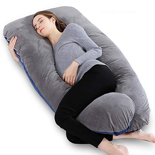 INSEN Pregnancy Body Pillow,Full Body Maternity Pillow for Pregnant Women with Velvet Body Pillow Cover