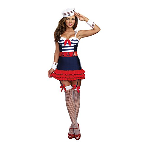 Dreamgirl Women's Sailor's Delight Sea Captain Costume, Multi, Small -
