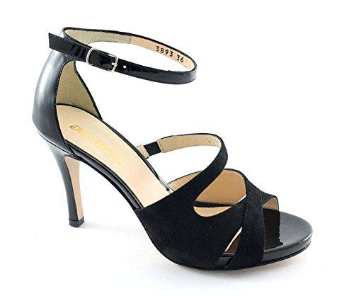 Nero S810 Escándalo Zapatos Negros Cerrado Correa Talón Mujer Melluso De zdUqZwTzx