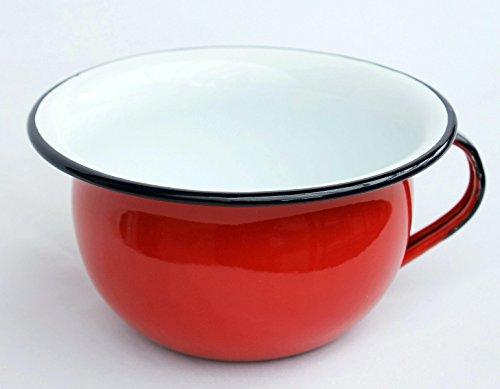 DanDiBo Chamber pot 613/18 Bedpan 18 cm enamelled Vintage Enamel (red)