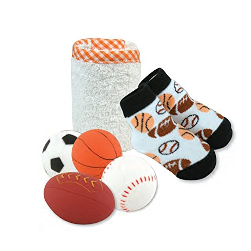 Stephan Baby Bath Squirter Tub Toys, Wash Cloth and Bootie Socks Gift Set, Let's Play Ball (Sports Squirters)