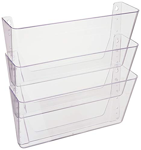 Deflecto DocuPocket, Wall File Organizer, Stackable, Letter Size, Clear, Set of 3, 13