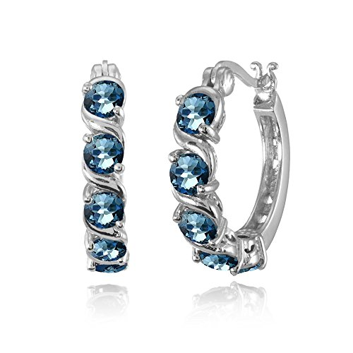 (Sterling Silver London Blue Topaz S Design Round Hoop Earrings )