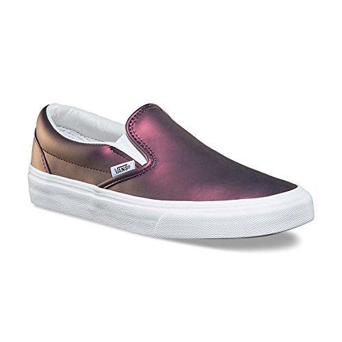 Vans Women's Muted Metallic Slip-On Skateboarding Shoes (7.5 Women/6 Men M US, Red/Gold)