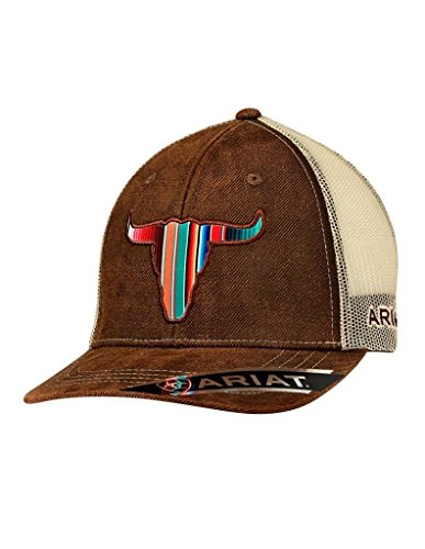 ARIAT Men's Serape Bull Head Trucker Cap, Brown, OS