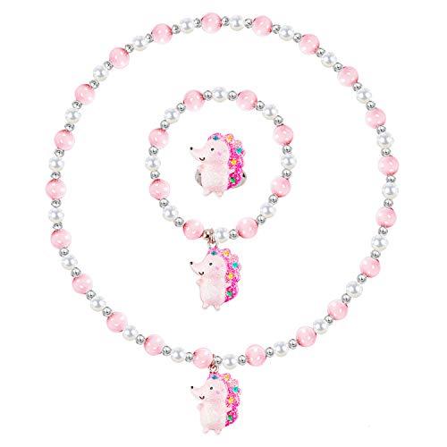 Kid Jewelry Pearl Beaded Rings Necklaces Bracelets Hedgehog