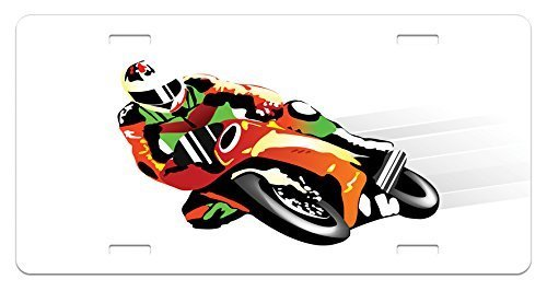 zaeshe3536658 Motorcycle License Plate, Retro Art Motorcycle Racer with Headgear Championship Dangerous Extreme Sports, High Gloss Aluminum Novelty Plate, 6 X 12 Inches, Orange Green